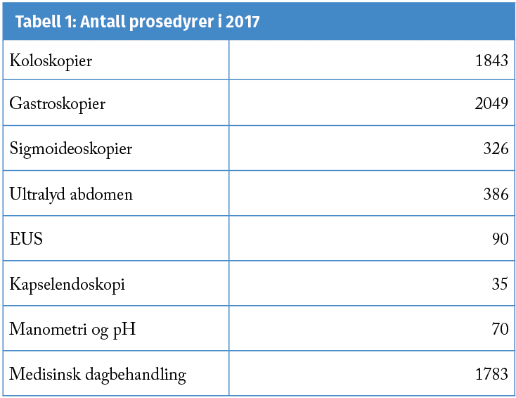 Tabell 1: Antall prosedyrer i 2017